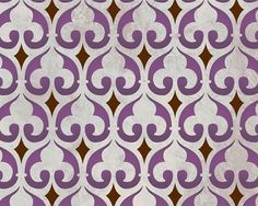Moorish Fleur de Lis Moroccan Stencil - This allover wall stencil pattern is a Moroccan version of the Fleur de Lis, a classic design element historically associated with the French monarchy and European coats of arms. Moroccan Pattern, Moroccan Design, Moroccan Decor, Moroccan Print, Wall Stencil Patterns, Stencil Designs, Tile Patterns, Tile Stencils, Craft Robo