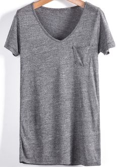 Camiseta suelta cuello pico bolsilo manga corta-gris 7.39