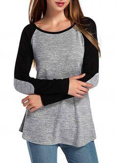 Grey and Black Long Sleeve Elbow Patch Raglan Tee