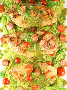 Mozzarella and Pesto Stuffed Chicken with Zoodles - with smoky homemade pesto, boneless skinless chicken breasts, and zucchini noodles.  Delicious & healthy!  https://tasteandsee.com via @h_tasteandsee