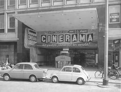 DAF 600 and Fiat 500 before a cinema in Rotterdam, The Netherlands (West Blaak) end of the sixties. Rotterdam, Fiat 500, Netherlands, Cinema, City, Taxi, Planes, Theater, Aesthetics