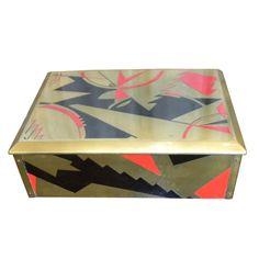Stunning Art Deco Modernist enamel jewelry box