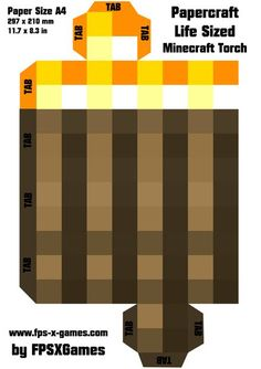 Printable papercraft cut out, Minecraft life sized torch template Minecraft Crafts, Pc Minecraft, Minecraft Decoration, Minecraft Official, Free Minecraft Printables, Minecraft Stuff, Mine Craft Party, Minecraft Birthday Party, 6th Birthday Parties