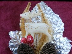 Foil Leaf,  White Deer Vintage Christmas Corsage or Ornament Piece, Chenille Stem Trees