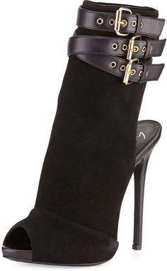 Giuseppe Zanotti Suede Triple-Strap Bootie, Black #shoes #heels