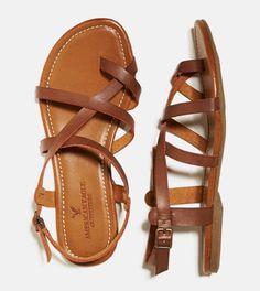 Dark Brown AEO Strappy Criss Cross Sandal