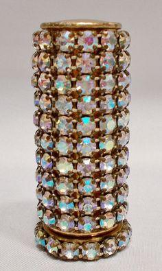 Vintage Gold Tone Clear Sparkling Rhinestone Lipstick Tube Holder