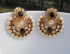 Black Chandbali with Pearls Meenakari Pearl Earrings by Alankaar, $30.00