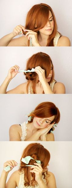 DIY Curls: How to Rag Roll Your Hair. I wonder if this would work on my hair? My Hairstyle, Curled Hairstyles, Pretty Hairstyles, Hairstyle Tutorials, Easy Hairstyles, Holiday Hairstyles, Amazing Hairstyles, Hairstyle Ideas, Coiffure Hair