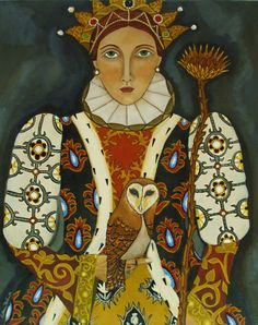 Portrait painting -Her Majesty The Queen-Owls and Artichokes-Open Edition Print. By Catherine Nolin.