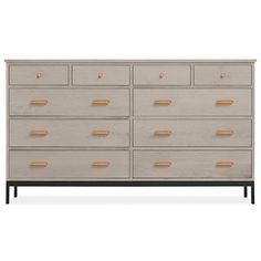 Room  Linear 67w 20d 38h Ten-Drawer Dresser with Steel Base $2,599