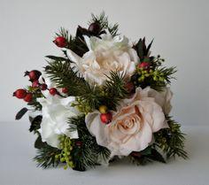 Silk Bride Bouquet Winter Bouquet Roses by FashionTouchWeddings