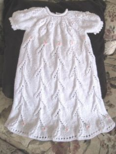 free pattern knit lace christening gown baby