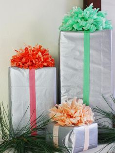 Tissue Paper Pom-Pom Topper-->   http://www.hgtv.com/handmade/25-creative-gift-wrap-ideas/pictures/page-22.html?soc=pinterest