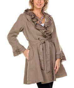 Loving this Firmiana Mocha Ruffle Linen Trench Coat - Women & Plus on #zulily! #zulilyfinds