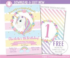 Instantly download this unicorn invitation and edit at home. NOTE: The curved wording at the top is NOT editable. All other wording shown is editable. The age on the back design can be changed. ▬▬▬▬▬▬▬▬▬▬▬▬▬▬▬▬▬ DESCRIPTION ▬▬▬▬▬▬▬▬▬▬▬▬▬▬▬▬▬ This is an instantly downloadable and editable PDF file that you can personalize and edit at home with Adobe Reader. File includes: •• 5x7 invitation - formatted to print 2 per page on 8.5x11 paper •• Backside pattern is included - Number on back can be…
