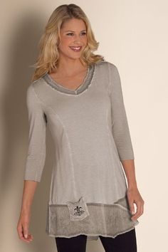 Fleur De Lis Shirt - Rhinestone Shirt, Crinkled Chiffon Top | Soft Surroundings