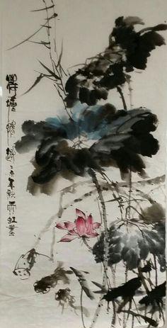 . Japanese Painting, Chinese Painting, Chinese Art, Ink Painting, Watercolor Art, August Wallpaper, Lotus Art, Asian Architecture, Guache