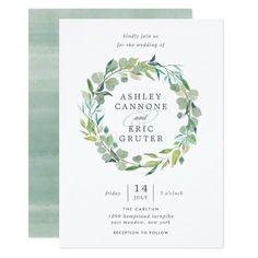 Eucalyptus Wreath Wedding Invitation