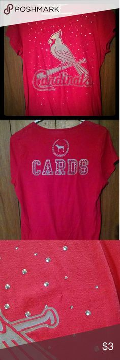 Cardinals T-shirt Red Cardinals t-shirt with gems on front. Does have small snag/hole by the gem's and few small spots  in a couple places. PINK Tops Tees - Short Sleeve