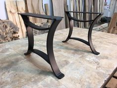 16 INCH TALL STEEL COFFEE TABLE BASE SET! Flat Black Golden Gate Metal Table Base! Coffee Table Legs! 16 Inch Tall X 18 Inch Wide! V-156