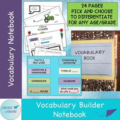 Build a notebook for vocabulary development across any age. Completely adaptable to fit any individual needs. Comes with some example starter pages for activities. #vocabularydevelopment #speechlanguageactivity #languagedevelopment #LSL Vocabulary Notebook, Teaching Vocabulary, Vocabulary Activities, Teaching Resources, Speech Language Therapy, Speech And Language, Speech Therapy, English Vocabulary Words, English Language Learners