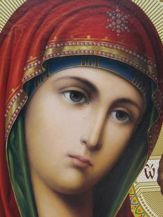 The icon of our Lady of Kazan that weeped at August 29, 2009. This icon is found at Huta Orthodox Skeete in Romania.