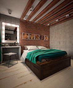 Интерьер спальни в стиле Loft #badroom #interior #design #loft Авторский дизайн от профессионалов. Разработка индивидуального дизайн-проекта и помощь в подборе материала. Каждому метру – достойный дизайн!