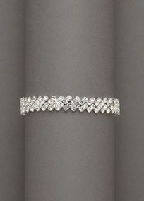 Mix it up with this boldcrystal zig-zag edge bracelet.   Looks great paired with earrings or a necklace, or on its own.  Imported.  Available in Silver.