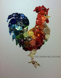 9x12 Kitchen Rooster Kitchen Art Buttons and by BellePapiers, $124.00