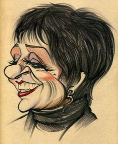 Liza Minnelli (by Zack Wallenfang) / Funny Caricatures, Celebrity Caricatures, Celebrity Drawings, Caricature Artist, Caricature Drawing, Comic Drawing, Cartoon Images, Cartoon Drawings, Cartoon Art