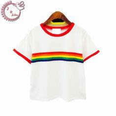#aliexpress, #fashion, #outfit, #apparel, #shoes #aliexpress, #rainbow, #Stripe, #woman, #shirt, #match, #cotton, #short, #sleeve, #harajuku, #shirt, #women, #Women, #Clothing
