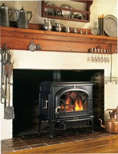 Jotul Wood Stove in old fireplace Fireplace Update, Stove Fireplace, Fireplace Mantles, Fireplace Ideas, Mantels, Wood Stove Wall, Hearth And Patio, Freestanding Fireplace