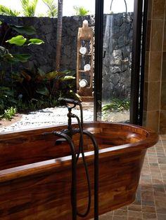 Indoor-outdoor bath/shower