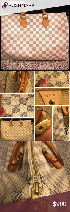 White Damier speedy 35 Preloved White speedy 35 with lock key and dustbag. Few marks as shown in overall like new condition. Louis Vuitton Bags Satchels