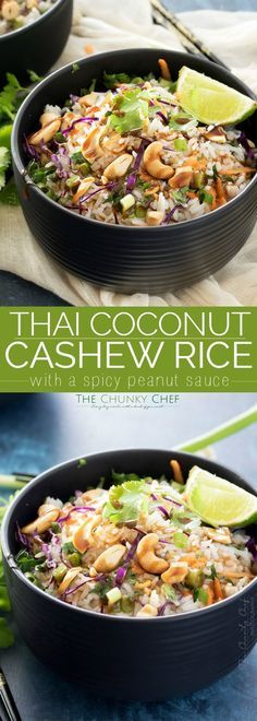 Thai Coconut Cashew Rice - This unique rice side dish is packed with Thai flavors, a mouthwatering side dish to accompany just about any protein you'd like! Vegaterian Recipes, Side Dish Recipes, Asian Recipes, Cooking Recipes, Dinner Recipes, Healthy Recipes, Ethnic Recipes, Coconut Recipes, Noodle Recipes