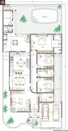 Rosamaria G Frangini House Layout Plans, Dream House Plans, Small House Plans, House Floor Plans, Layouts Casa, House Layouts, Home Design Floor Plans, Plan Design, Model House Plan