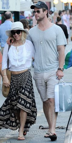 Holiday bliss! Elsa Pataky couldn't hide her happiness with a wide grin as she strolled the streets of Portofino, Italy with her hunky husband, Chris Hemsworth, on Thursday