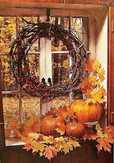 GORGEOUS old window with grapevine wreath & fallen autumn leaves & pumpkins under it. Autumn Decorating, Window Decorating, Autumn Window Displays, Fall Window Decorations, Autumn Display, Fall Displays, Fall Harvest Decorations, Thanksgiving Decorations, Store Displays