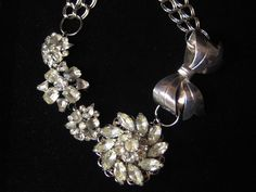 Silver Vintage Bow and Rhinestone Brooch Statement Necklace $45
