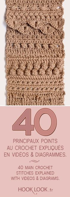 d7ecb498944 Main crochet stitches explained in videos and diagrams. 40 hand crochet  stitches explained with videos and diagrams by hooklook.