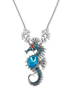 Betsey Johnson Necklace, Silver-Tone Sea Horse Pendant Long Necklace - Fashion Jewelry - Jewelry & Watches - Macy's