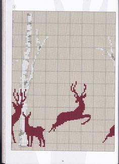 Deer silhouette & trees part 3 Xmas Cross Stitch, Just Cross Stitch, Cross Stitch Borders, Cross Stitch Animals, Counted Cross Stitch Patterns, Cross Stitch Charts, Cross Stitch Designs, Cross Stitching, Intarsia Knitting