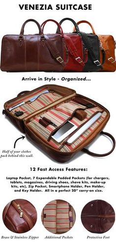 Floto Venezia Leather Suitcase Duffle Bag