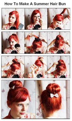 How To Make a Summer Hair Bun | hairstyles tutorial