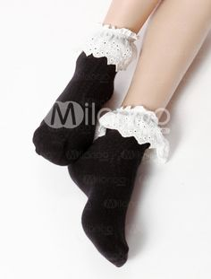 Cute Black Cotton Lace Trim Women's Short Socks Cotton Lace, Black Cotton, Short Socks, Lace Trim, Cute, Color, Fashion, Moda, La Mode