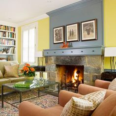 Contrasting colors in your living room can add great visual interest. More creative mantel ideas: http://www.bhg.com/decorating/fireplace/mantels/creative-mantel-ideas/?socsrc=bhgpin090813creativemantelideas=12