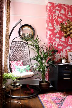 Spring 2015 One Room Challenge - Eclectic Boho Glam Office Reveal - Swoon Worthy Interior Blogs, Interior Inspiration, Interior Design, Style Inspiration, Boho Glam Home, Boho Chic, Boho Style, Pink Houses, Pink Room