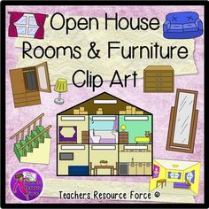Open House and Furniture Clip Art - color and black line. A set of clip art of images around the home as well as actual rooms: especially great for teaching vocabulary in all languages!