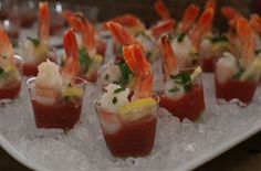 Menu for movie- CAPTAIN PHILLIPS: Shrimp Cocktail Shooters, shrimp from the ocean trapped in a small vessel.